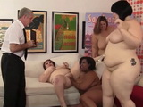 Bunch Of BBW Make An Invasion To Mature Poor Man