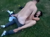 Horny Teen Couple Having Quickie In The Middle Of The Park