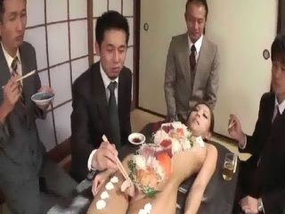 Japanese Businessmen Eating Sushi From Hot Girl Body